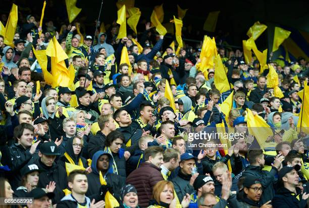 Fans of Brondby IF prior to the Danish Alka Superliga match between Brondby IF and FC Midtjylland at Brondby Stadion on April 17 2017 in Brondby...