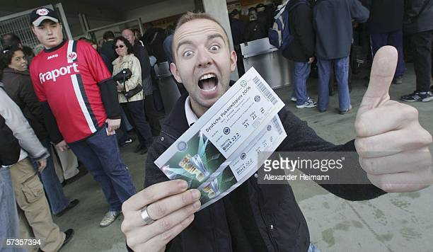 Fans of Bundesliga club Eintracht Frankfurt wait at the ticket counter to buy tickets for the German Cup Final on April 18 2006 in Frankfurt Germany...