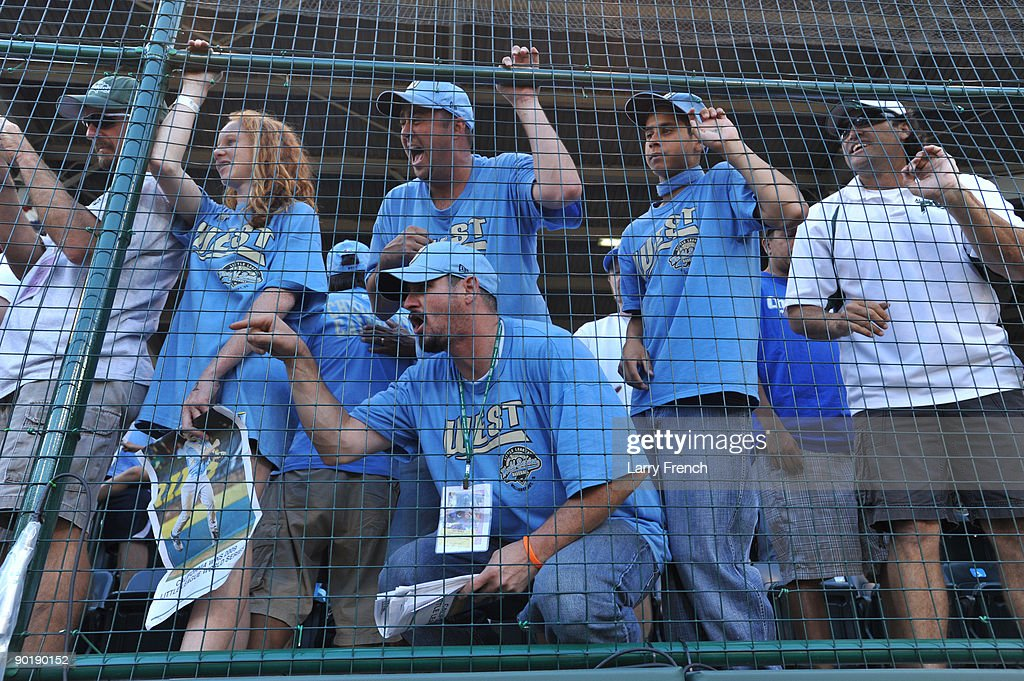 Fans of California (Chula Vista) cheer after the game against Asia Pacific (Taoyuan, Taiwan) in the little league world series final at Lamade Stadium on August 30, 2009 in Williamsport, Pennsylvania.