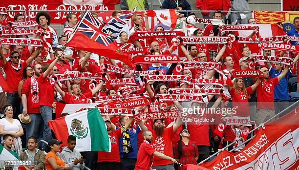 Fans of Canada cheer prior to the match against Mexico at CenturyLink Field on July 11 2013 in Seattle Washington Mexico defeated Canada 20