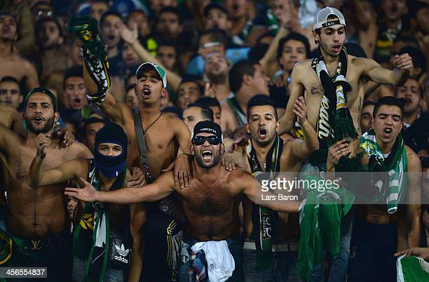 Fans of Casablanca are seen during the FIFA Club World Cup Quarterfinal match between Raja Casablanca and CF Monterrey at Agadir Stadium on December...