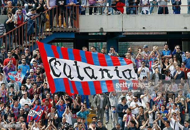Fans of Catania during the Serie A match between Calcio Catania and UC Sampdoria at Stadio Angelo Massimino on April 19 2014 in Catania Italy