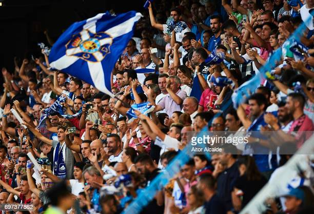Fans of CD Tenerife support during La Liga 2 between CD Tenerife and at Heliodoro Rodriguez Lopez Stadium on June 18 2017 in Tenerife Spain