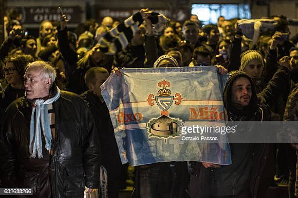 Fans of Celta de Vigo shows their support outside the stadium prior the match between Real Club Celta de Vigo and Real Madrid at Municipal de...