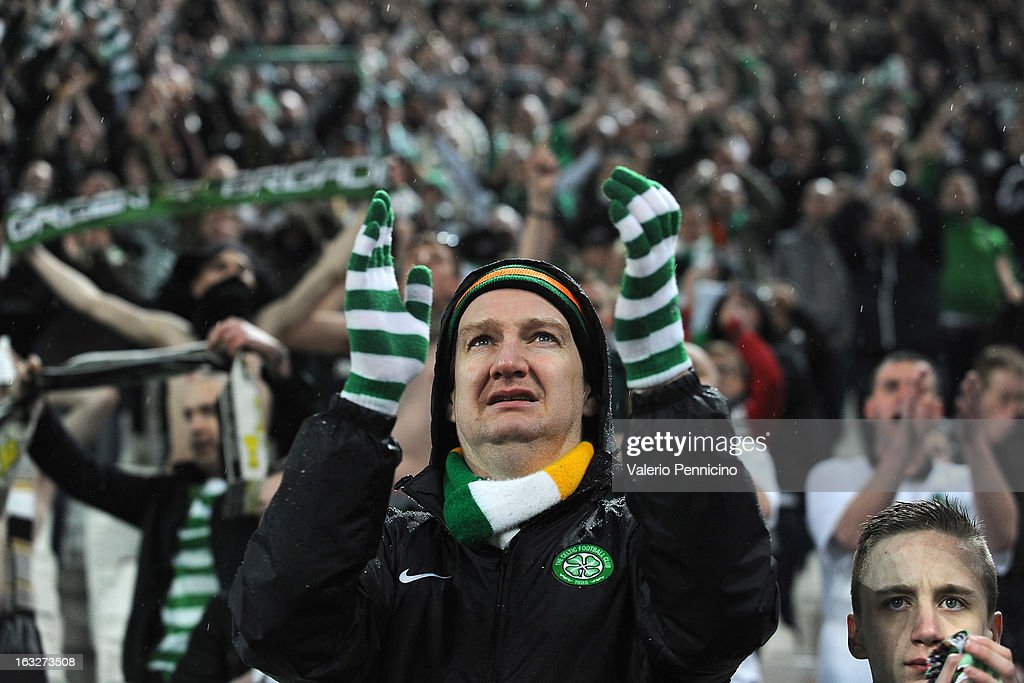 Fans of Celtic at the end of the UEFA Champions League round of 16 second leg match between Juventus and Celtic at Juventus Arena on March 6, 2013 in Turin, Italy.