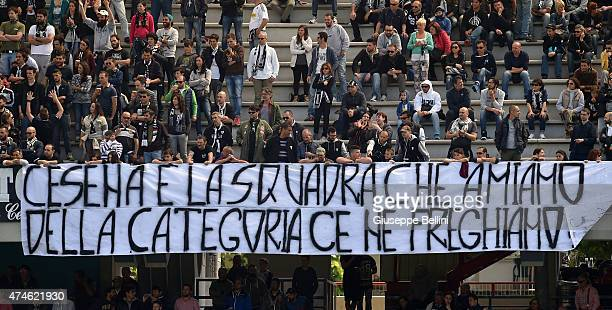 Fans of Cesena during the Serie A match between AC Cesena and Cagliari Calcio at Dino Manuzzi Stadium on May 24 2015 in Cesena Italy