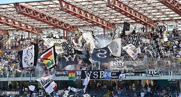 Fans of Cesena during the Serie A match between AC Cesena and US Sassuolo Calcio at Dino Manuzzi Stadium on May 10 2015 in Cesena Italy