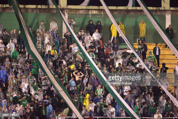 Fans of Chapecoense during a match between Chapecoense Palmeiras as part of Brasileirao Series A 2017 at Arena Conda on May 20 2017 in Chapeco Brazil
