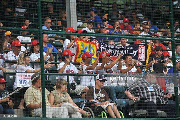 Fans of Chiba City Japan cheer for their team during the game against Reynosa Mexico in the international semifinal at Lamade Stadium on August 26...