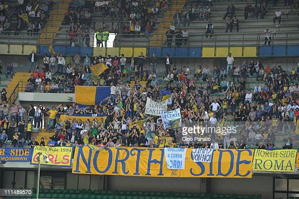 Fans of Chievo cheer during the Serie A match between AC Chievo Verona and UC Sampdoria at Stadio Marc'Antonio Bentegodi on April 3 2011 in Verona...