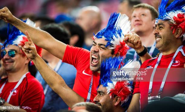 Fans of Chile celebrate during the FIFA Confederations Cup Russia 2017 Group B match between Cameroon and Chile at Spartak Stadium on June 18 2017 in...