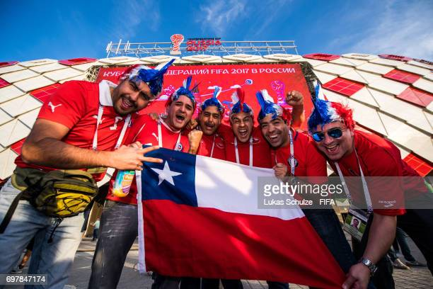 Fans of Chile celebrate prior to the FIFA Confederations Cup Russia 2017 Group B match between Cameroon and Chile at Spartak Stadium on June 18 2017...
