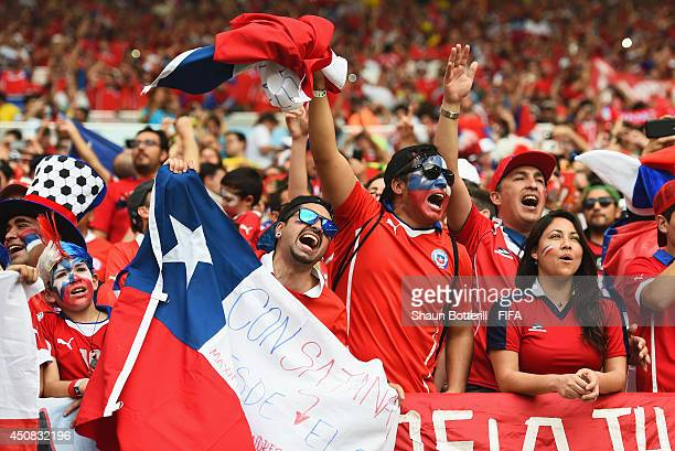 Fans of Chile cheer during the 2014 FIFA World Cup Brazil Group B match between Spain and Chile at Estadio Maracana on June 18 2014 in Rio de Janeiro...