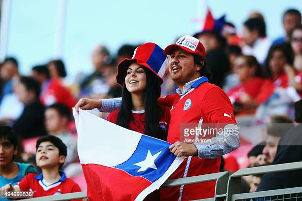 Fans of Chile enjoy the atmosphere during the FIFA U17 World Cup Chile 2015 Round of 16 match between Mexico and Chile at Estadio Nelson Oyarzun...