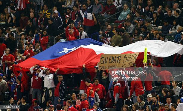 Fans of Chile unfurl a flag to show their support during the International Men's Friendly match between Chile and the United States at The Home Depot...