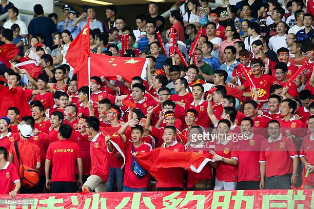 Fans of China during men's EAFF East Asian Cup 2015 match between China and Japan at the Wuhan Sports Center Stadium on August 9 2015 in Wuhan China