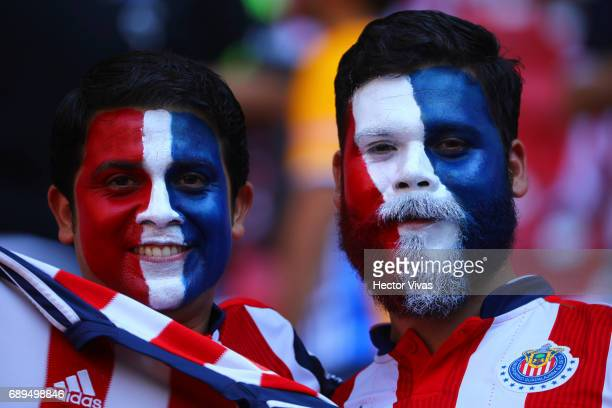 Fans of Chivas pose for photos prior the Final second leg match between Chivas and Tigres UANL as part of the Torneo Clausura 2017 Liga MX at Chivas...