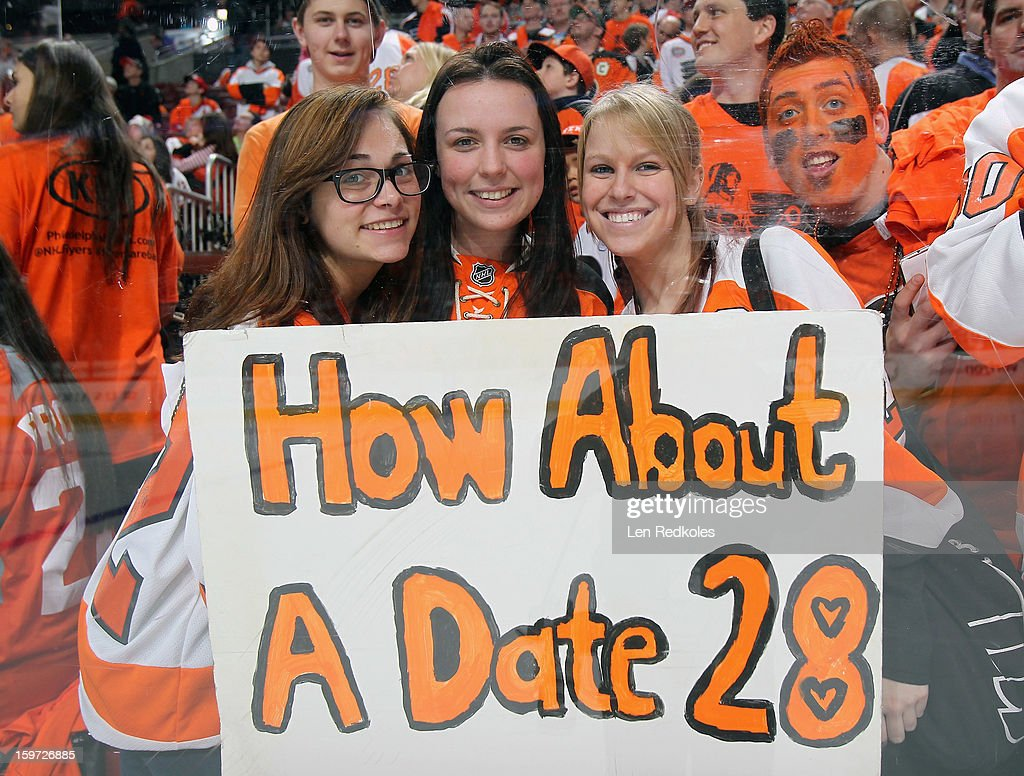 Fans of Claude Giroux #28 of the Philadelphia Flyers show their love during warmups prior to their game against the Pittsburgh Penguins on January 19, 2013 at the Wells Fargo Center in Philadelphia, Pennsylvania.