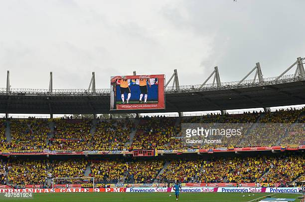 Fans of Colombia cheer for their team prior a match between Colombia and Argentina as part of FIFA 2018 World Cup Qualifiers at Metropolitano Stadium...