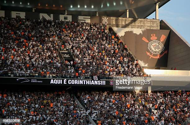 Fans of Corinthians celebrates during the match between Corinthians and Sao Paulo for the Brazilian Series A 2015 at Arena Corinthians on November 22...