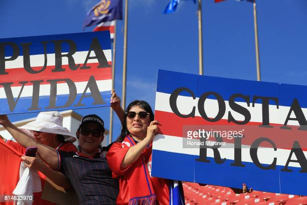 Fans of Costa Rica cheer during play against French Guiana during the 2017 CONCACAF Gold Cup at Toyota Stadium on July 14 2017 in Frisco Texas