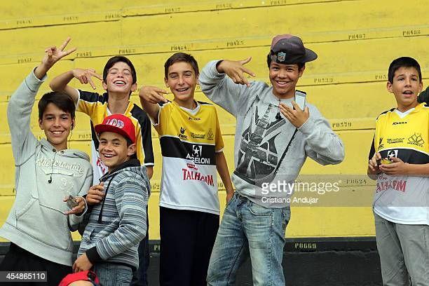 Fans of Criciuma prior a match between Criciuma and Corinthians as part of Campeonato Brasileiro 2014 at Heriberto Hulse Stadium on September 7 2014...