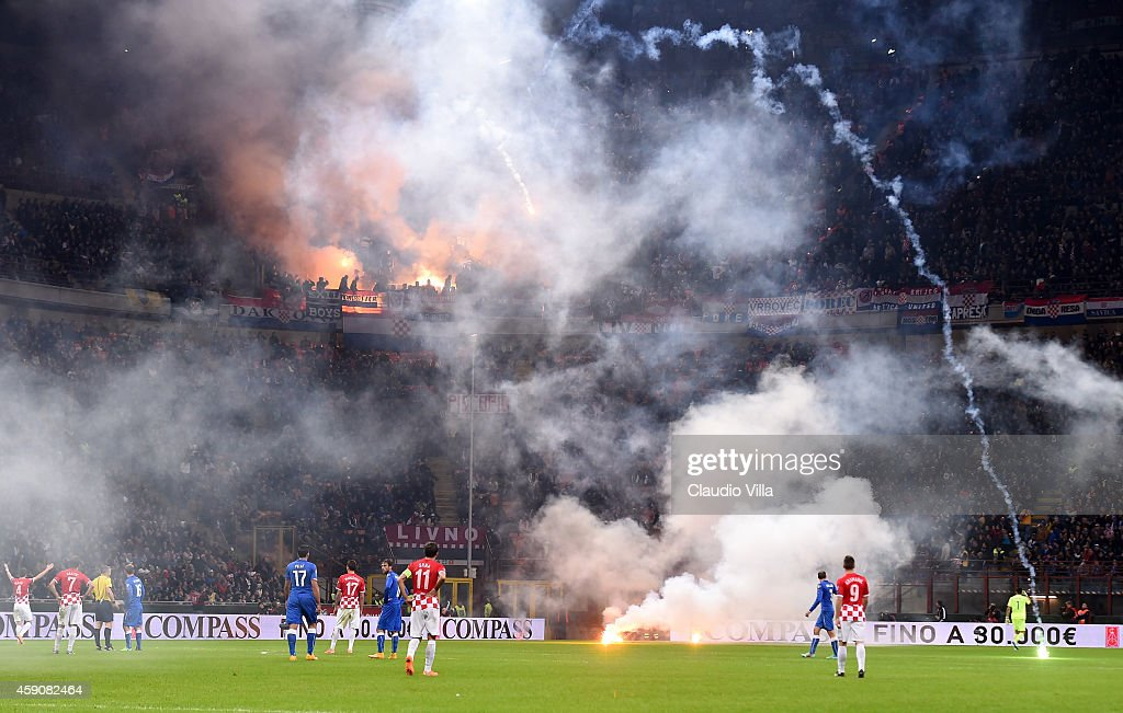Fans of Croatia during the EURO 2016 Group H Qualifier match between Italy and Croatia at Stadio Giuseppe Meazza on November 16 2014 in Milan Italy