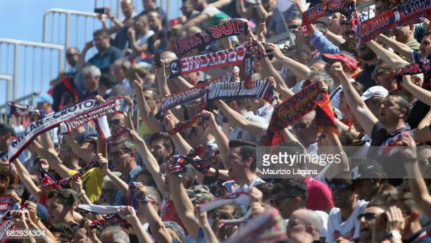 Fans of Crotone during the Serie A match between FC Crotone and Udinese Calcio at Stadio Comunale Ezio Scida on May 14 2017 in Crotone Italy