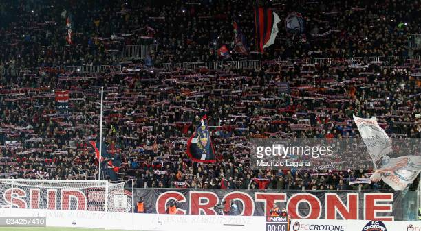 Fans of Crotone during the Serie A match between FC Crotone and Juventus FC at Stadio Comunale Ezio Scida on February 8 2017 in Crotone Italy