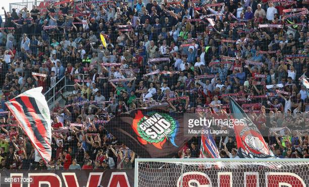 Fans of Crotone during the Serie A match between FC Crotone and Torino FC at Stadio Comunale Ezio Scida on October 15 2017 in Crotone Italy