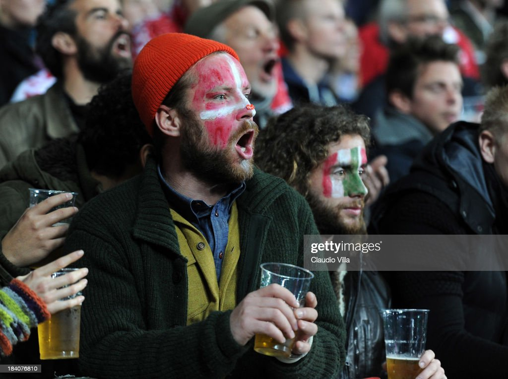 Fans of Denmark and Italy react during the FIFA 2014 world cup qualifier between Denmark and Italy on October 11, 2013 in Copenhagen, Denmark.