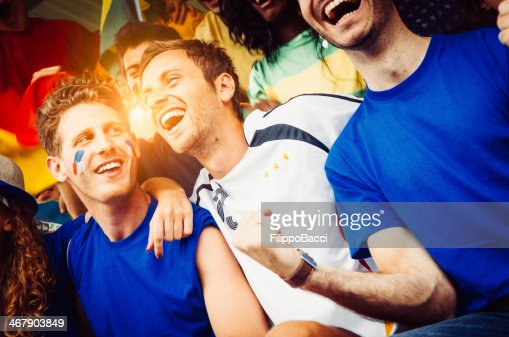 Fans of different nations at the stadium together