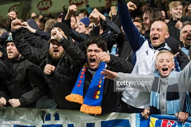 Fans of Djurgardens IF celebrates after Kim Kallstrom of Djurgardens IF scored 12 during the Allsvenskan match between IF Elfsborg and Djurgardens IF...