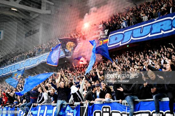 Fans of Djurgardens IF celebrates after scoring 01 during the Allsvenskan match between Hammarby IF and Djurgardens IF at Tele2 Arena on June 4 2017...