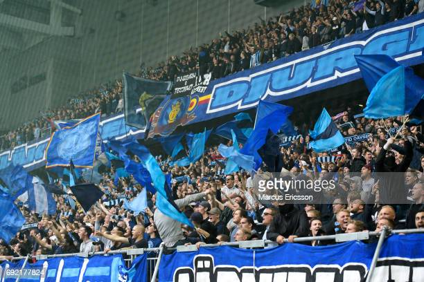 Fans of Djurgardens IF during the Allsvenskan match between Hammarby IF and Djurgardens IF at Tele2 Arena on June 4 2017 in Stockholm Sweden