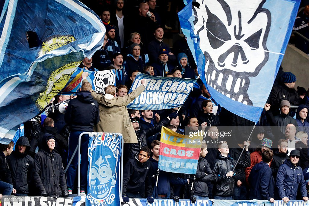 Fans of Djurgardens IF during the Allsvenskan match between IF Elfsborg and Djurgardens IF at Boras Arena on April 28, 2016 in Boras, Sweden.