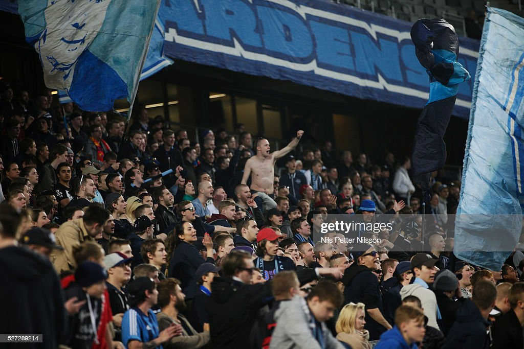 Fans of Djurgardens IF during the Allsvenskan match between Djurgardens IF and Ostersunds FK at Tele2 Arena on May 2, 2016 in Stockholm, Sweden.