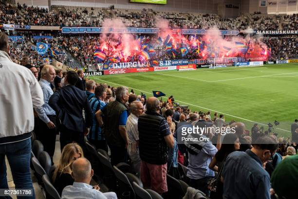 Fans of Djurgardens IF during the Allsvenskan match between Djurgardens IF and Malmo FF at Tele2 Arena on August 7 2017 in Stockholm Sweden