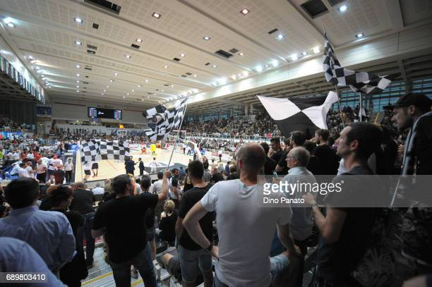 Fans of Dolomiti Energia Trentino shows their support during the LegaBasket Serie A Playoffs match 3 beetwen Dolomiti Energia Trentino and EA7...