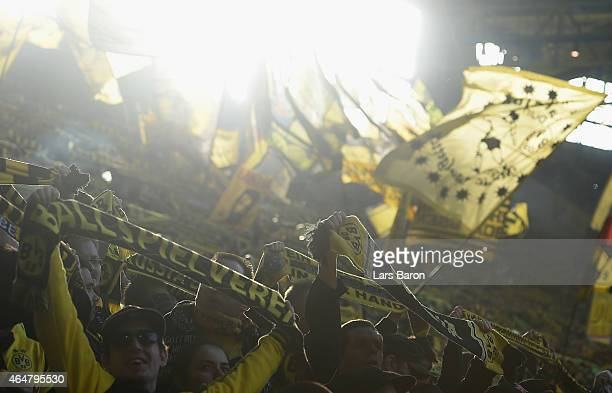 Fans of Dortmund are seen during hte Bundesliga match between Borussia Dortmund and FC Schalke 04 at Signal Iduna Park on February 28 2015 in...