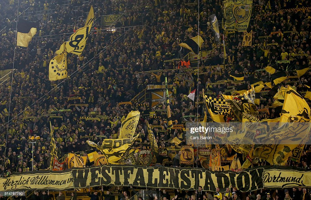 Fans of Dortmund are seen during the UEFA Europa League Round of 16 first leg match between Borussia Dortmund and Tottenham Hotspur at Signal Iduna...