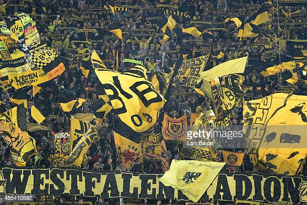 Fans of Dortmund are seen prior to the UEFA Europa League Play Off Round 2nd Leg match between Borussia Dortmund and Odds BK at Signal Iduna Park on...