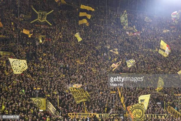 Fans of Dortmund prior the Bundesliga match between Borussia Dortmund and RB Leipzig at Signal Iduna Park on February 4 2017 in Dortmund Germany