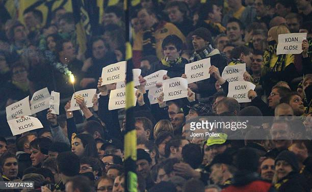 Fans of Dortmund show poster during the Bundesliga match between Borussia Dortmund and 1 FC Koeln at Signal Iduna Park on March 4 2011 in Dortmund...