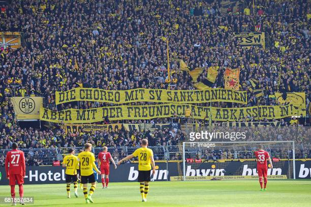 Fans of Dortmund with a banner during the Bundesliga match between Borussia Dortmund and FC Koeln at Signal Iduna Park on April 29 2017 in Dortmund...
