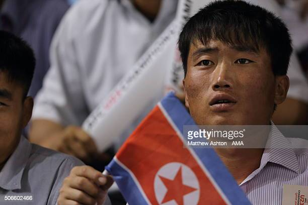 Fans of DPR / North Korea during the AFC U23 Championship quarter final match between Qatar and North Korea at the Jassim Bin Hamad Stadium on...