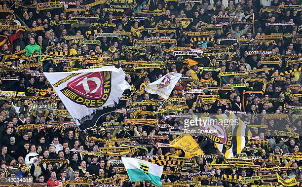 Fans of Dresden celebrate prior to the Second Bundesliga match between SG Dynamo Dresden and Fortuna Duesseldorf at Gluecksgas Stadion on April 16...