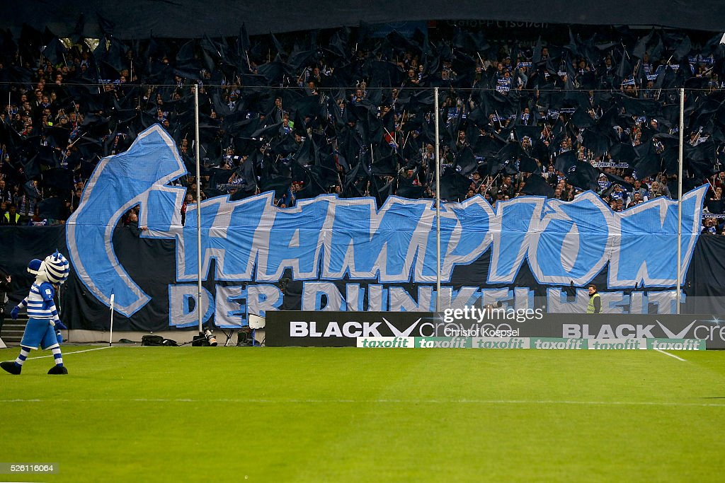 Fans of Duisburg show a banner during the 2. Bundesliga match between MSV Duisburg and Fortuna Duesseldorf at Schauinsland-Reisen-Arena on April 29, 2016 in Duisburg, Germany.