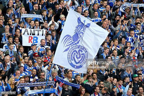 Fans of Duisburg show a banner prior to the Second Bundesliga match between MSV Duisburg and RB Leipzig at SchauinslandReisenArena on May 15 2016 in...