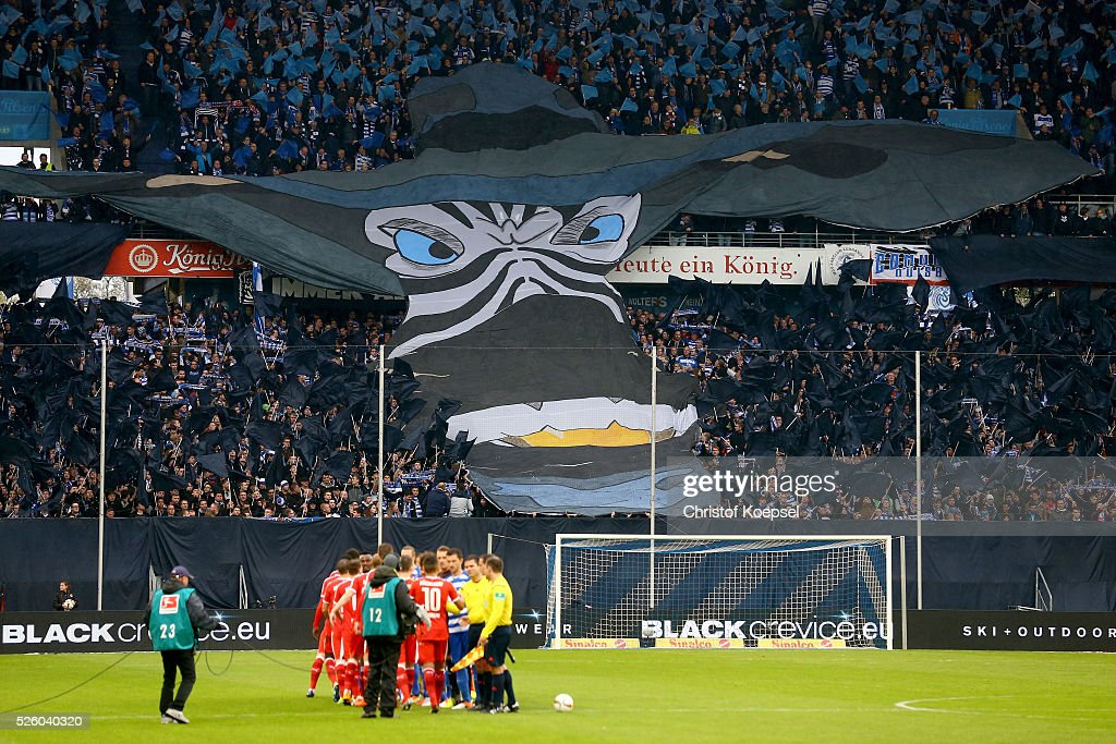 Fans of Duisburg show a choreograph during the 2. Bundesliga match between MSV Duisburg and Fortuna Duesseldorf at Schauinsland-Reisen-Arena on April 29, 2016 in Duisburg, Germany.